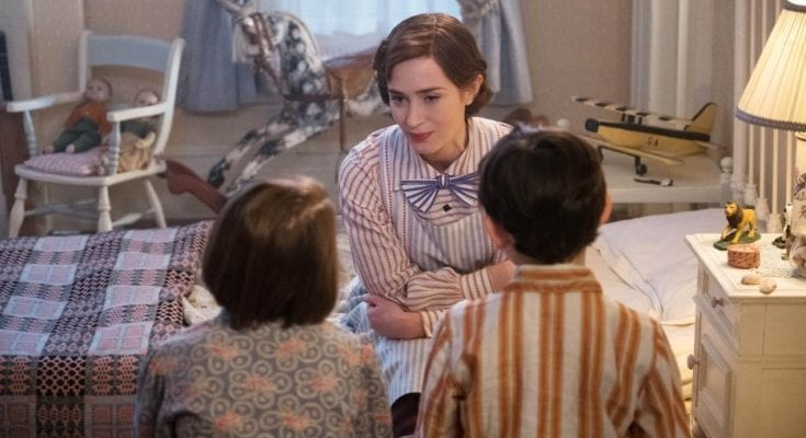 Mary Poppins and the Banks children in Mary Poppins Returns