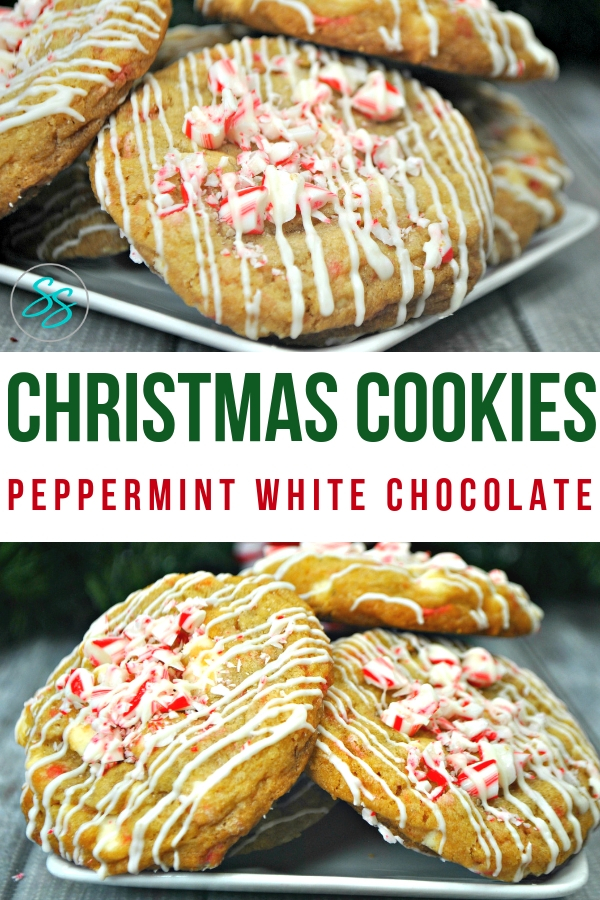Easy peppermint white chocolate cookies are great for gifts, cookie exchanges, and Santa himself! #cookierecipe #peppermint #whitechocolate #easyrecipe #holidayrecipe #holidaycookie #peppermintcookie #chocolatecookie #easycookierecipe