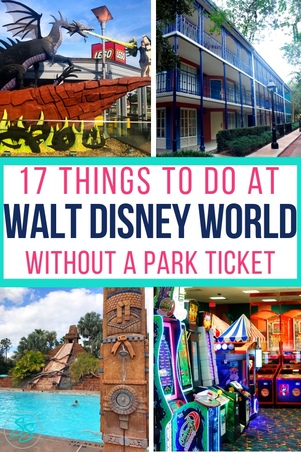 Going to Orlando but don't have a ticket to Disney World? No problem! Find at least 17 new things to do at Disney World without a park ticket when you use this list! #disneytravel #disneytips #disneyworld #disneyworldtips #disneysprings