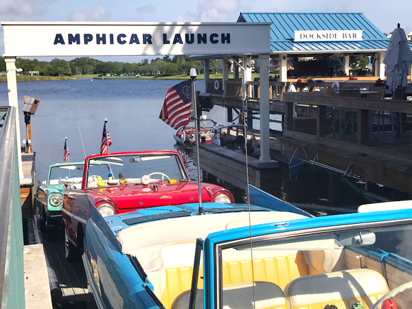 One of the things to do at Disney World without a ticket is taking a ride on the Amphicar at Disney Springs!
