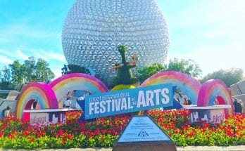 Entrance display for the Festival of the Arts at Epcot