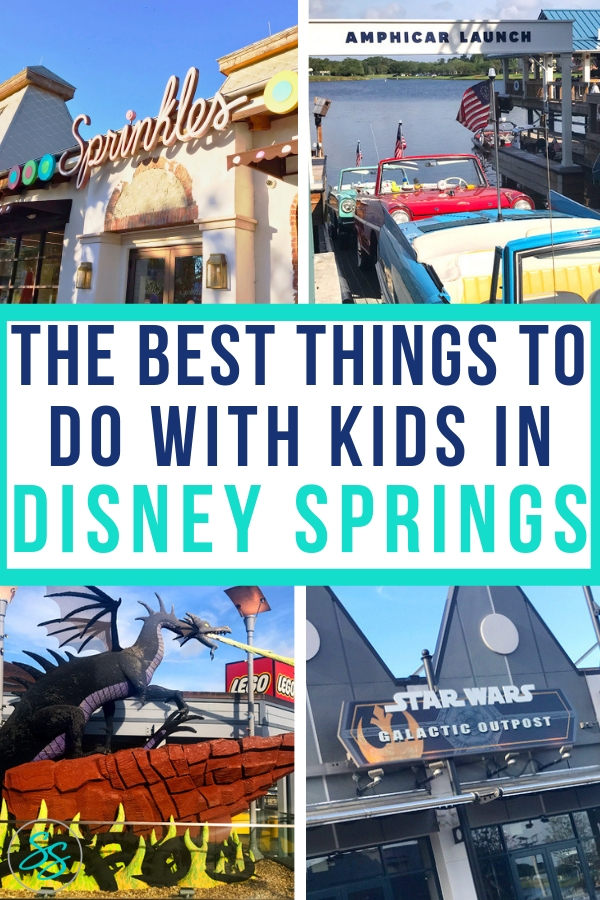 Disney Springs is an amazing shopping and dining destination. Is it ok for kids? Yes! Check out this list of the best things to do in Disney Springs with kids. #disneytravel #disneysprings #familytravel #wdw #disneyworld
