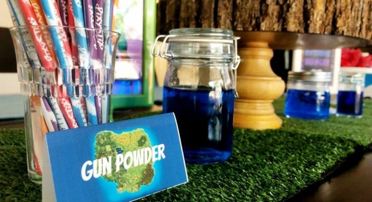 Gun powder is just pixie stix candy with a festive label. An easy Fortnite party idea for kids.