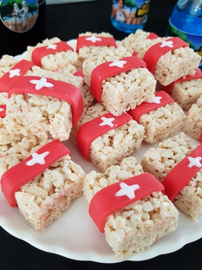 Rice krispies shaped like medkits from the video game Fortnite.