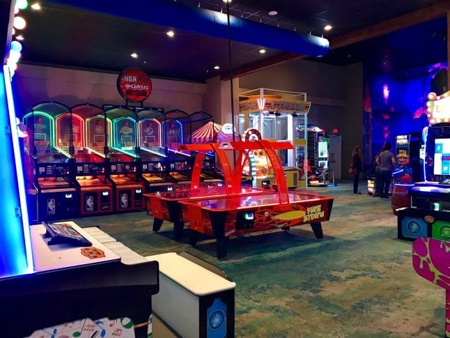 Arcade games make up the second floor of the Margaritaville Resort.
