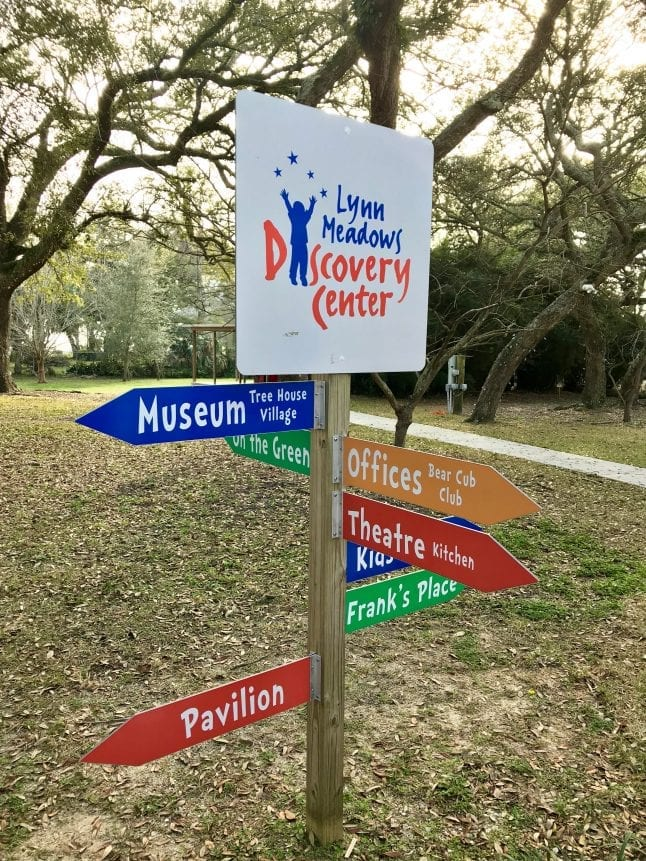 A sign leads the way at the Lynn Meadows Discovery Center.