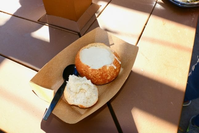 Bread Bowl with Cheddar Cheese Soup at DCA Food and Wine Festival