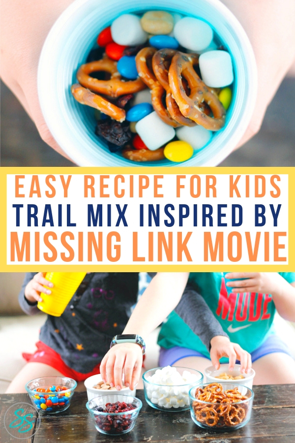 "Try this easy trail mix recipe for kids the next time you need a delicious snack. It's inspired by the movie ""Missing Link"" in theaters April 12! #easyrecipe #snackrecipe #missinglinkmovie #mrlinktrailmix #trailmix"