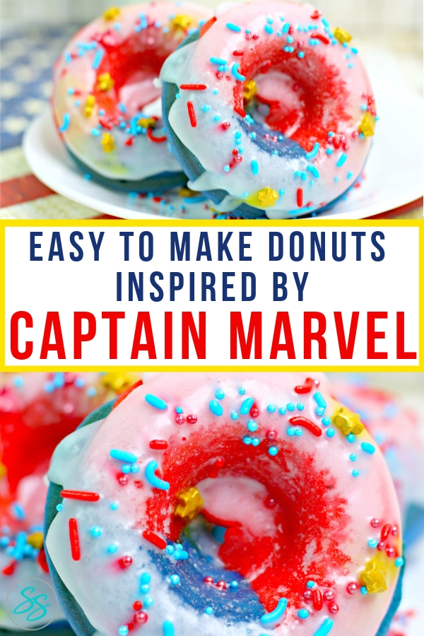 #CaptainMarvel is the hero we need. Make these Captain Marvel inspired donuts to celebrate this iconic character. #easyrecipe #donutrecipe #captainmarvelrecipe #marvel
