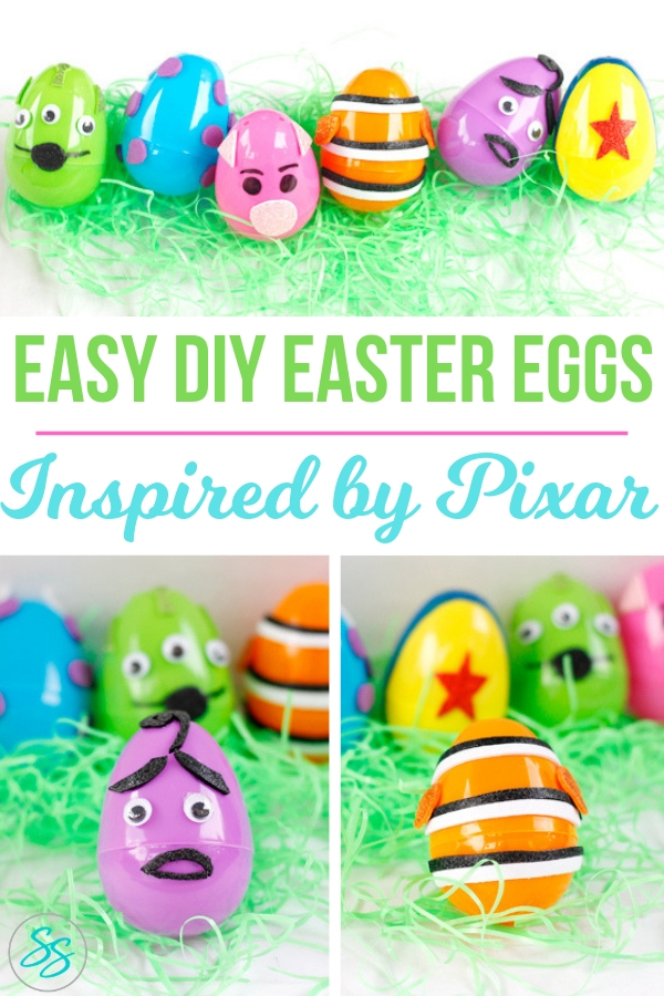 This Easter craft is SO easy! Check out these easy DIY Easter eggs inspired by Pixar characters! #eastereggs #easterdiy #disneypixar #pixarcharacters