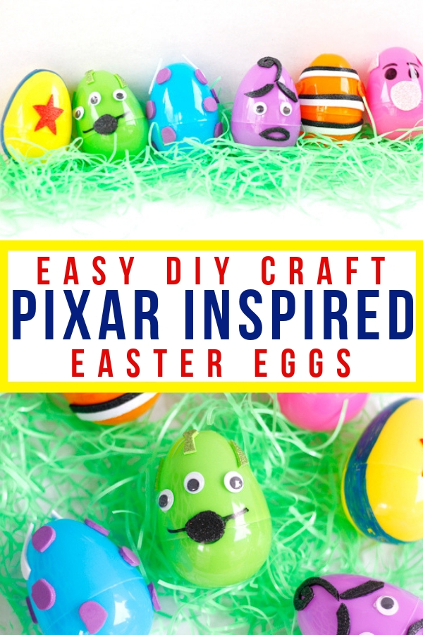 These easy DIY Pixar Easter eggs are so much fun to make! Let your creativity shine with this fun DIY craft that is perfect for kids! #disneydiy #easter #disneyeaster #pixar #eastercraft