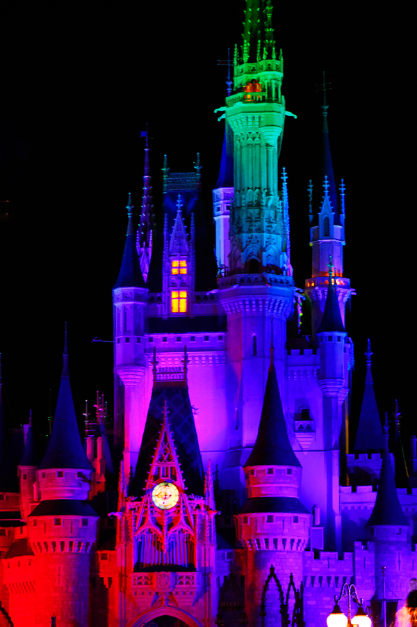 Cinderella Castle lit up for the Villains event.
