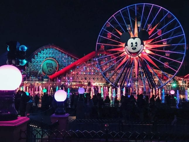 View of the water and Mickey Wheel at Disney California Adventure.
