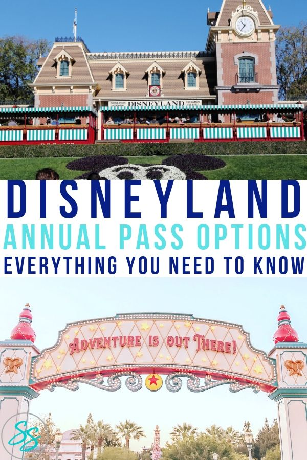 Pinterest style image for article about Disneyland Annual Pass options.