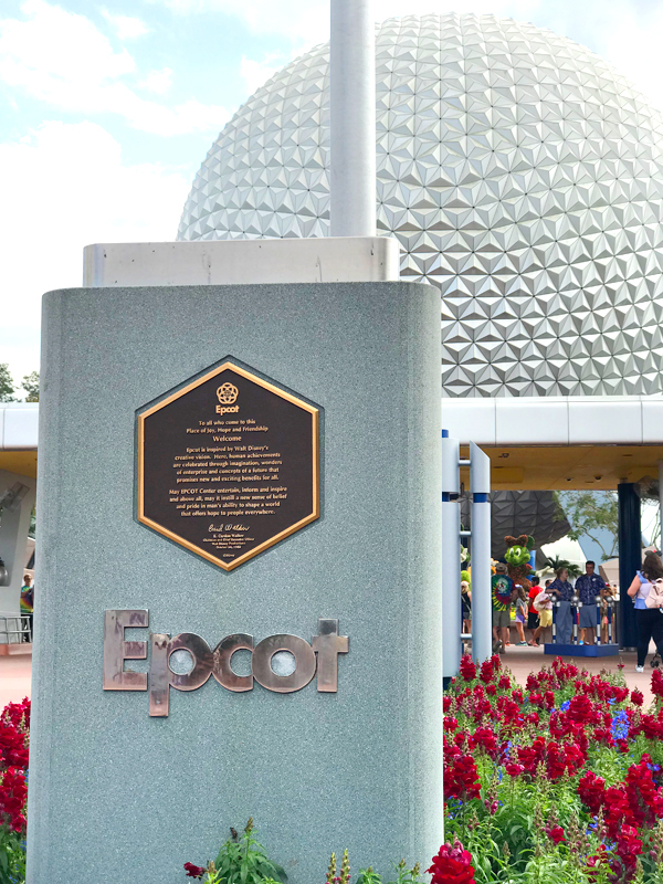 Entrance sign for Epcot at Disney World.