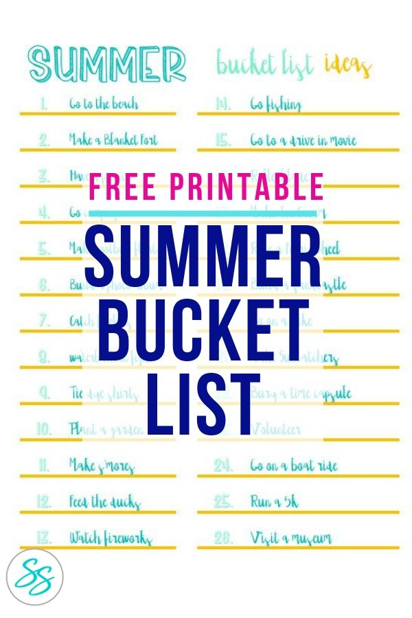 photo about Summer Bucket List Printable known as Printable Summer months Bucket Record-Cost-free Obtain! - Sarah in just the