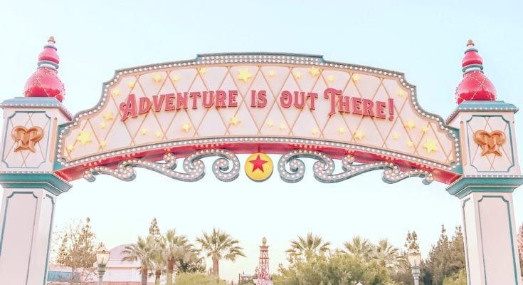 The backside of the entrance sign to Pixar Pier at Disney California Adventure.
