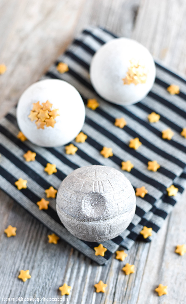 Check out these cool DIY Star Wars bath bombs shaped like the Death Star!
