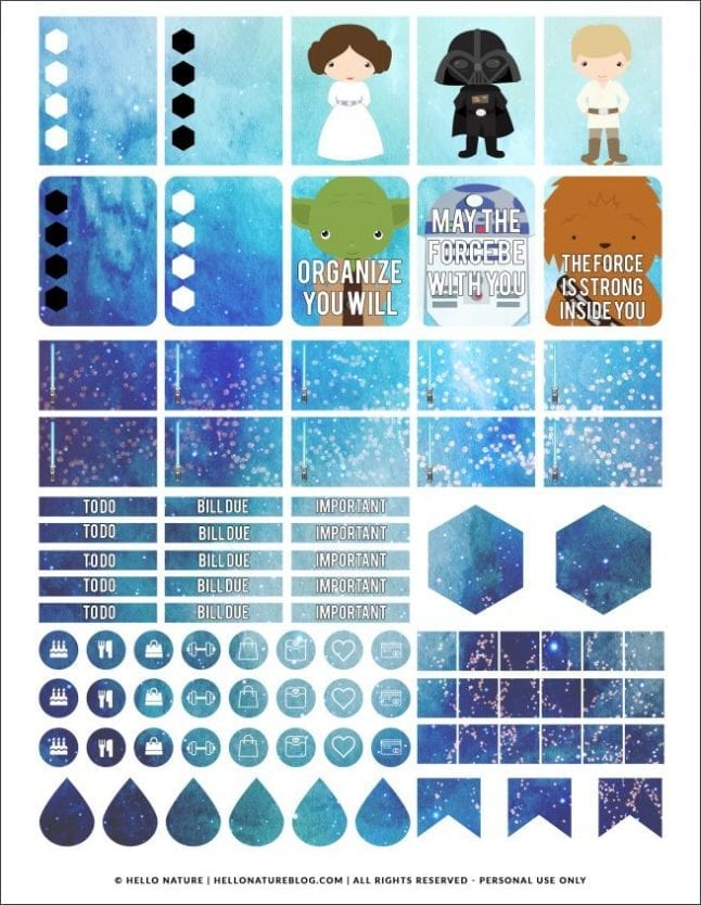 These Star Wars printable stickers are perfect for the planners of Star Wars fans!