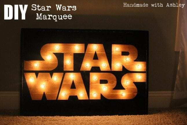 DIY Star Wars wooden marquee with lights.