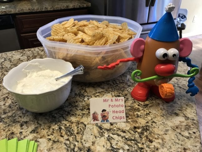 Chip and dip bar at Toy Story Party.