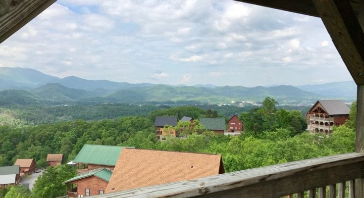Beautiful view on the porch of a Dollywood cabin.