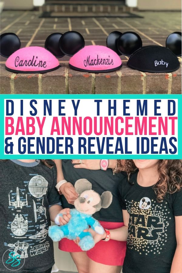Disney themed baby announcements can add more magic to an already magical time. Check out these fun ideas! #disneybaby #babyannouncement #disneytheme #genderreveal
