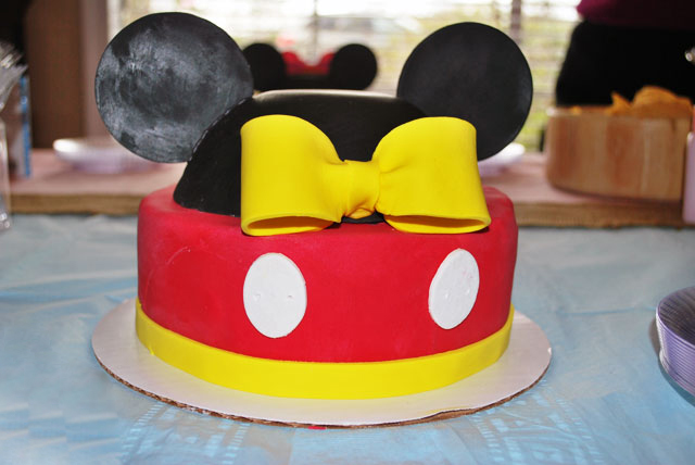 Baby boy Mickey gender reveal cake.
