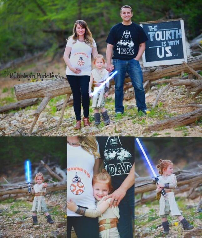 Disney themed baby announcements include the Star Wars franchise.