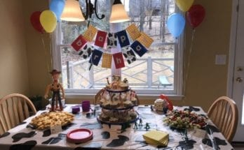Table set up for a Toy Story themed birthday party.