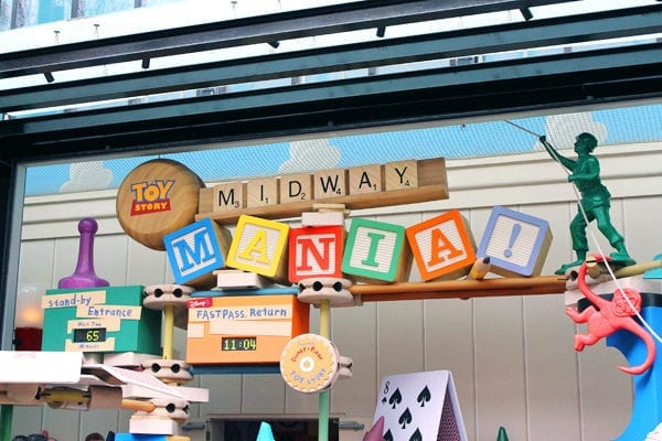 Toy Story Midway Mania old entrance with FastPass return and wait times.