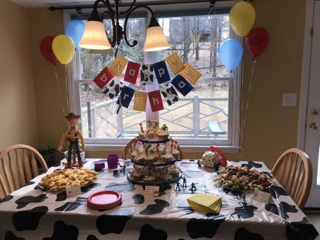 Don't forget about the table! Toy Story party ideas for the table don't have to be complicated.
