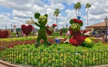 Mickey and Minnie topiaries at Epcot International Flower and Garden Festival