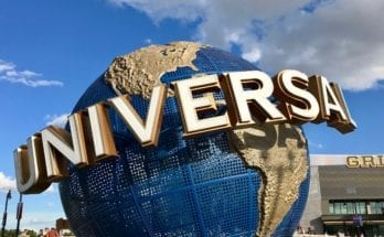 Blue and gold Universal Globe outside Universal Studios in Orlando, Florida.