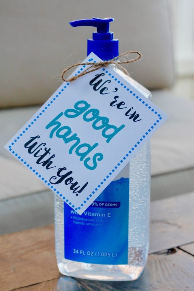 "We're in ""good hands"" with you! Teacher gift printable, perfect for hand sanitizer gifts."