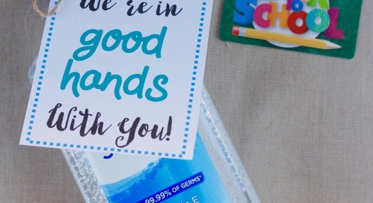 Back to school printable with hand sanitizer bottle and gift card.