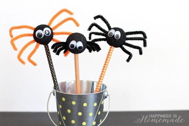 halloween craft for kids-spider pencil