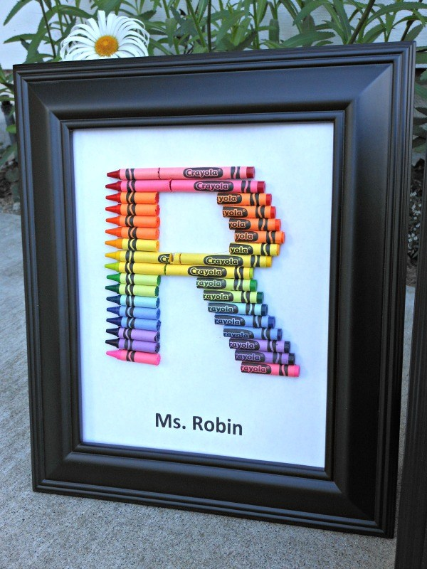 Handmade initial R made out of crayons for a teacher gift.