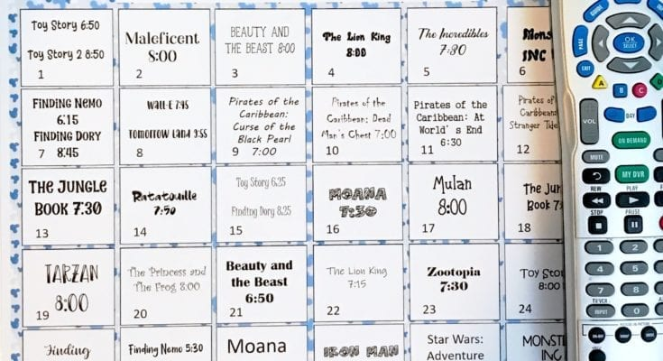 Print out the entire DIsney movie schedule for Freeform's 30 Days of Disney programming!