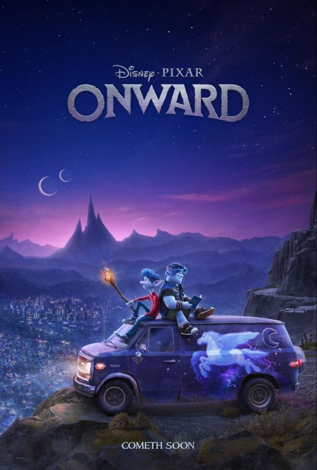 Teaser poster for Pixar's Onward in theaters March of 2020.