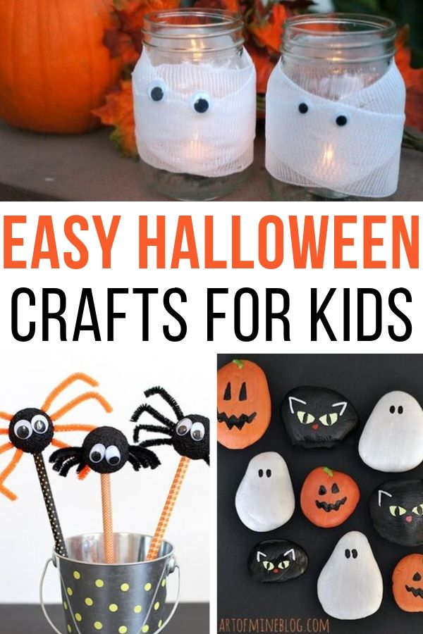 Check out these easy Halloween craft ideas for kids! Fun for parties at school or for projects at home. #halloween #halloweencrafts #craftsforkids #easydiy #easycrafts
