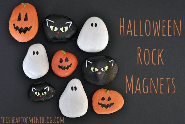 Halloween rock magnet craft for kids