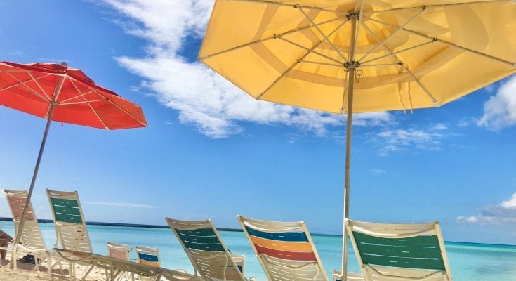 Beach umbrellas and chairs on Castaway Cay
