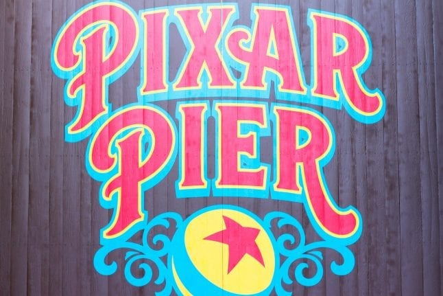 The Pixar Pier Wall is bright and colorful.