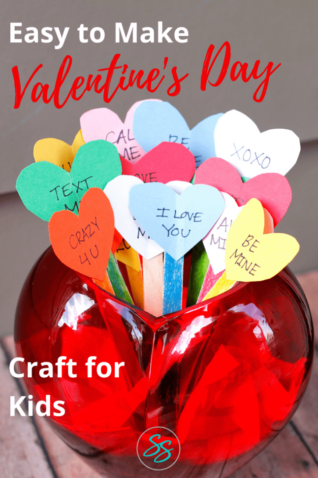 An easy Valentine's Day craft kids of all ages can make. Based on the classic candies, this Conversation Hearts craft will be the hit of your class party! #craftsforkids #valentinesday #valentinesdaycraft
