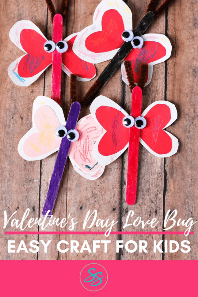 "Kids will love this cute ""Love Bug"" craft because it's very easy to make. Just a few supplies are needed to make this adorable Valentine's Day craft for kids. #valentinesdaycraft #craftsforkids #valentinesday"