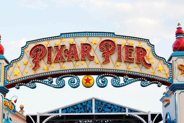 Pixar Pier Entrance sign at Disney California Adventure Park