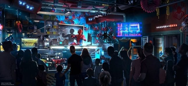 Spider-Man ride artist rendering for Disney California Adventure.