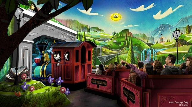 Artist concept from Mickey and Minnie's Runaway Railway Ride