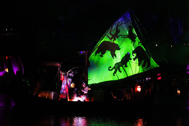 Animal shadows during the River of Light show at Disney's Animal Kingdom